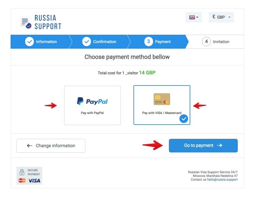Russia support payment