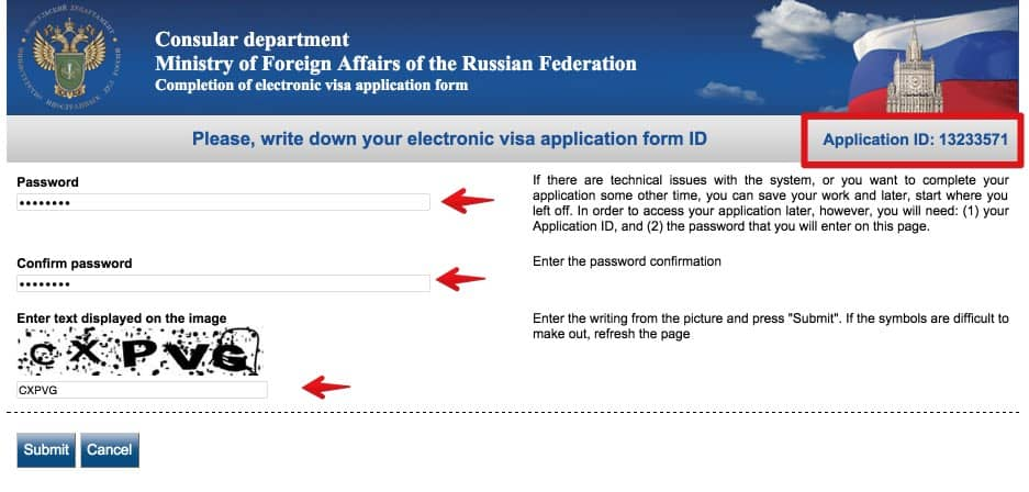 electronic visa to Russia application form