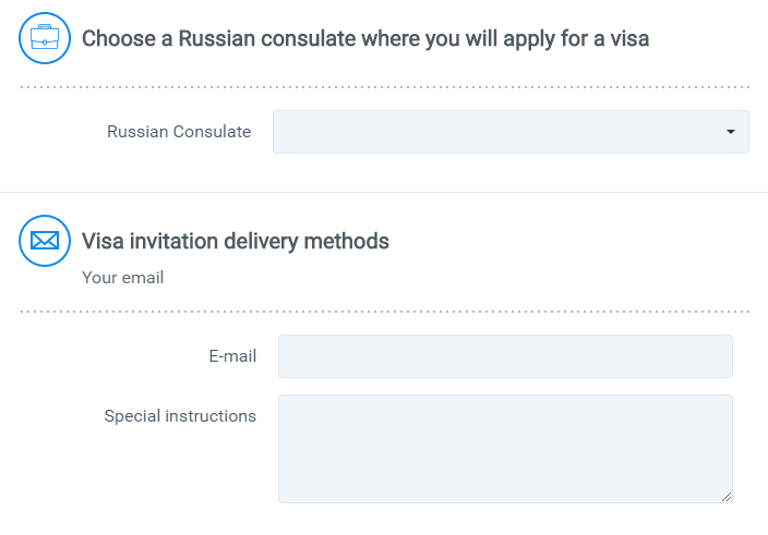 Russian business visa invitation delivery address