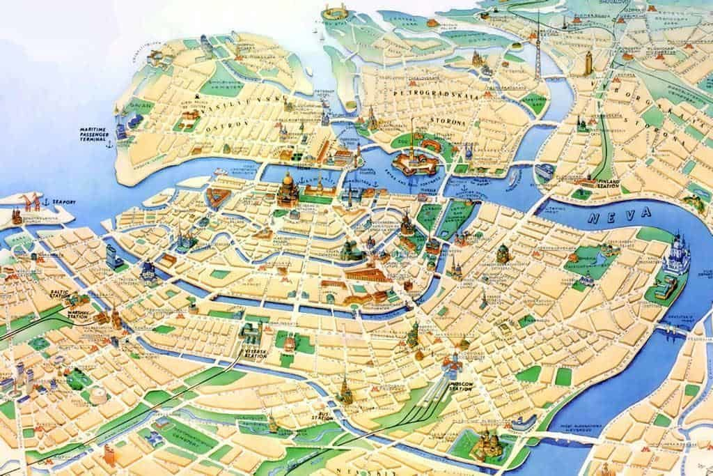 Map of St. Petersburg in Russia