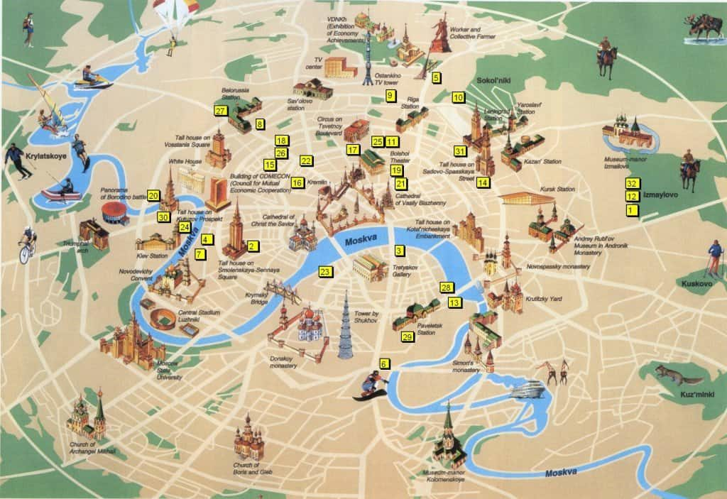 Moscow Map with Monuments