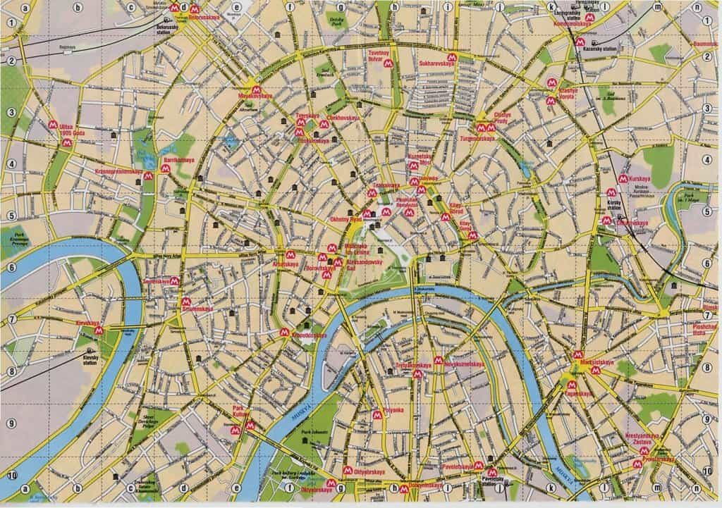 Moscow city map with metro