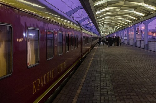 Red arrow train from St. Petersburg to Moscow
