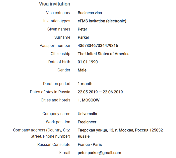 Russian business visa invitation for american citizens