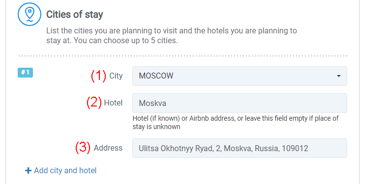 Russian tourist invitation application form